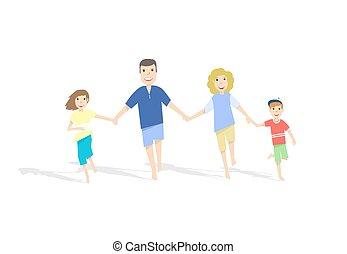 illustration., famiglia, fondo., correndo, vettore, bianco