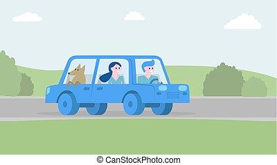 illustration., famiglia, insieme, vettore, automobile., viaggiare, felice
