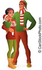 illustration., familie, freigestellt, vektor, portrait., weihnachten, glücklich
