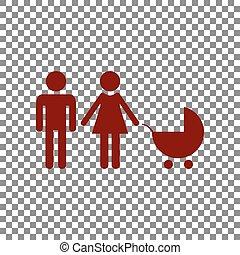 illustration., famille, rouge foncé, signe, arrière-plan., transparent, icône