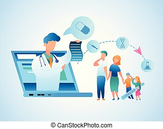 Illustration Family Consultation Doctor Online. Vector Image Man and Woman Holding Sick Children by Hand. Doctor Gives Prescription Treatment from Screen Laptop Monitor. Online Physician Consultation