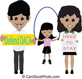 Illustration Family Protesting to Defend DACA