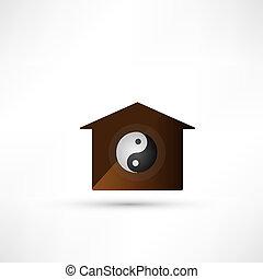 illustration., family., yin, símbolo., vetorial, equilíbrio, yang