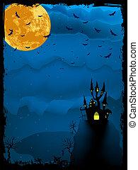 illustration., fantasmal, halloween, eps, tiempo, 8