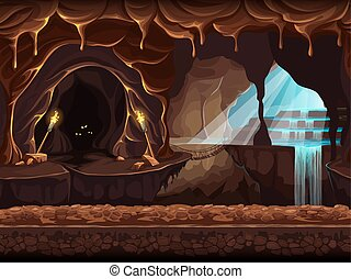 Illustration fantasy cave with a waterfall - Vector cartoon...