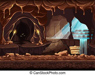 Illustration fantasy cave with a sign and stones - Vector...