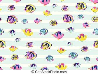 illustration., farbe, licht, fische, kind, seamless, beschaffenheit, wasserlandschaft, karikatur, vektor, hintergrund, hintergrundmuster, druck, weißes, gestreift, meer, endlos