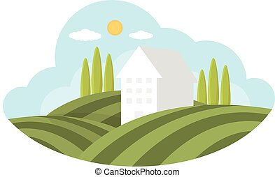 illustration farm, vector flat design