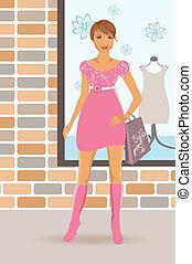 fashion shopping girl near shop