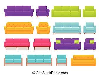 illustration., fauteuil, set., sofa, divan, vecteur