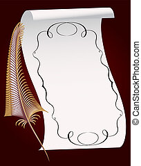 illustration feather and roll of the paper with pattern
