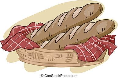 Baguette - Illustration Featuring a Basket of Baguette