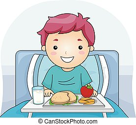 Meal Tray - Illustration Featuring a Boy With a Meal Tray in...