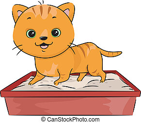 Litter Box - Illustration Featuring a Cat Walking All Over ...
