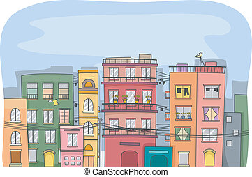 Residential Buildings - Illustration Featuring a City Full...