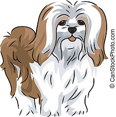 Illustration Featuring a Cute and Playful Lhasa Apso
