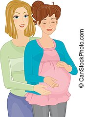 Doula - Illustration Featuring a Doula Assisting a Pregnant...