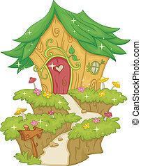 Fairy House - Illustration Featuring a Fairy House