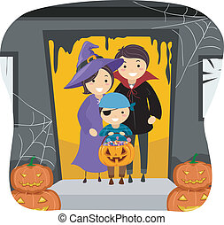 Family Trick or Treat - Illustration Featuring a Family...
