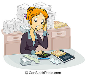Female Accountant - Illustration Featuring a Female ...
