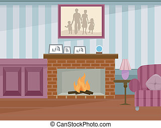 Fireplace - Illustration Featuring a Fireplace in Use