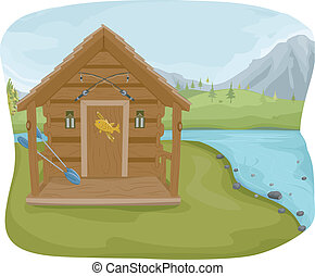 Fishing Cabin - Illustration Featuring a Fishing Cabin Near...
