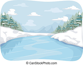 Frozen River - Illustration Featuring a Frozen River