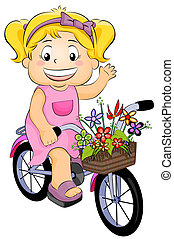 Girl on a Bicycle - Illustration Featuring a Girl on a...