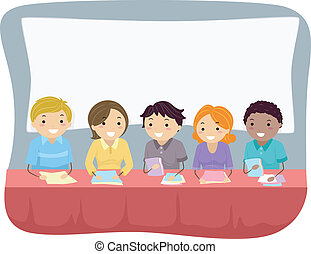 Panel Interview - Illustration Featuring a Group of People ...