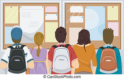 Bulletin Board - Illustration Featuring a Group of Students...