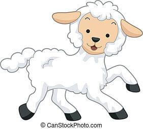 Lamb - Illustration Featuring a Happy Lamb