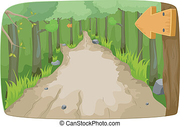 Illustration Featuring a Hiking Trail in the Middle of the Forest