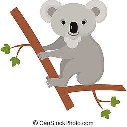 Illustration Featuring a Koala Clinging to a Tree Trunk