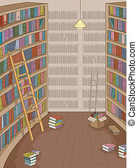Library - Illustration Featuring a Library with Books Strewn...