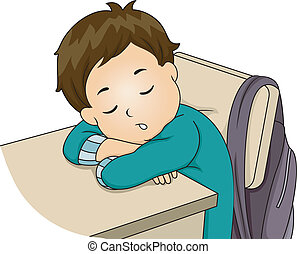 Boy Sleeping in Class - Illustration Featuring a Little Boy...
