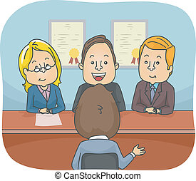 Panel Interview - Illustration Featuring a Man Being...