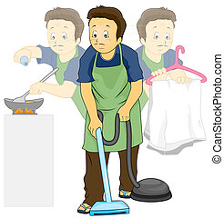 Illustration Featuring a Man Doing Household Chores
