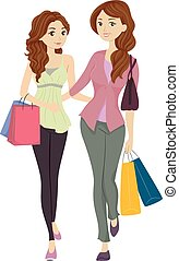 Mom and Daughter Shopping - Illustration Featuring a Mom and...