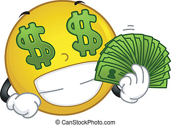 Money-loving Smiley - Illustration Featuring a Money-loving...