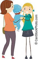 Babysitter - Illustration Featuring a Mother Handing Her...