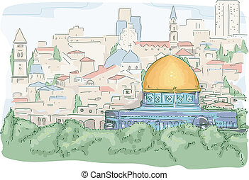 Illustration Featuring a Panoramic View of the Dome of the Rock in Jerusalem
