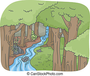 Illustration Featuring a Rainforest with a Gently Cascading Waterfall/