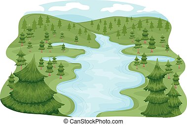 Illustration Featuring a River Basin