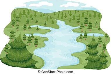 River Basin - Illustration Featuring a River Basin