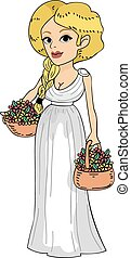 Illustration Featuring a Roman Girl Carrying Baskets of Flowers