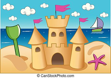 Illustration featuring a sand castle on the beach in summer
