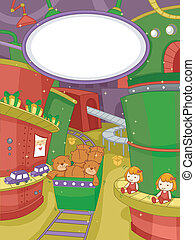 Christmas Toy Factory - Illustration Featuring a Scene at a...