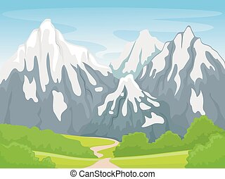 Snowy Mountain Scene - Illustration Featuring a Snowy...