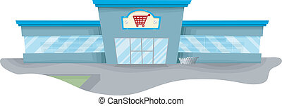 Grocery Store - Illustration Featuring a Spacious Grocery...