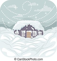 Illustration Featuring a Strong Blizzard